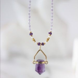 Amethyst Large Spike Crystal Necklace